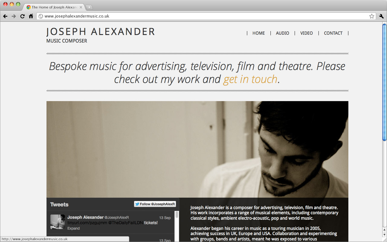 A preview of Joseph Alexander's website